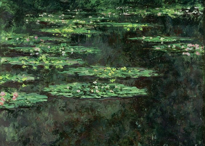 Impressionist; Pond; Garden; Nympheas; Waterlily; Water Lilies; Lily Greeting Card featuring the painting Waterlilies by Claude Monet
