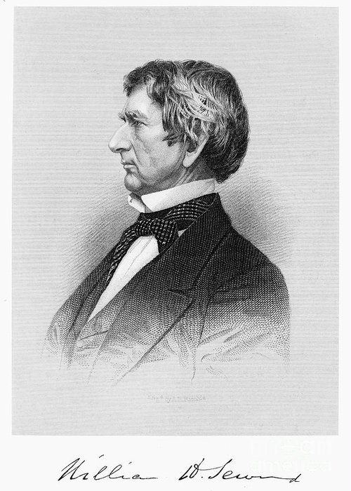 19th Century Greeting Card featuring the photograph William Seward (1801-1872) by Granger