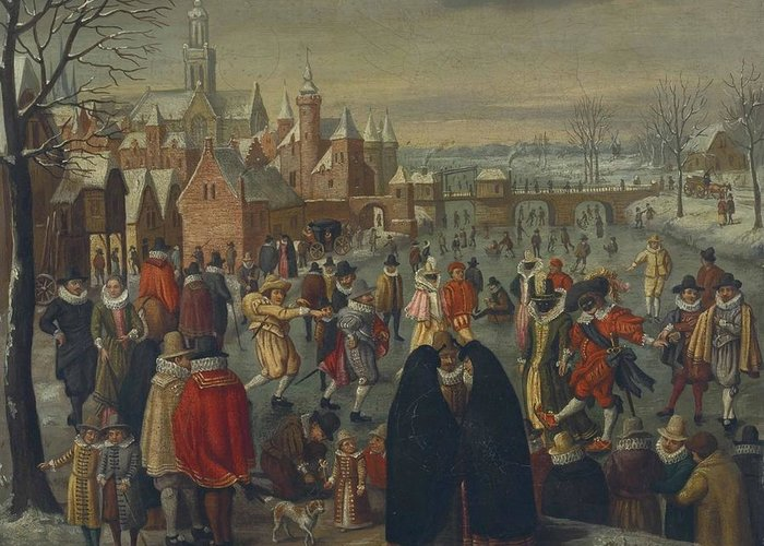 Circle Of Denijs Van Alsloot (brussels Before 1573-1625 6) A Winter Landscape With Skaters On A Frozen River Greeting Card featuring the digital art Winter by Mark Carlson