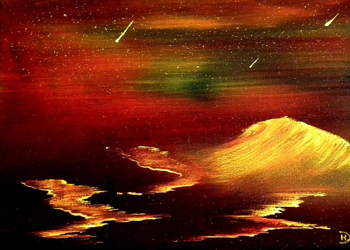 Falling Stars Greeting Card featuring the painting 3 Wishes by David Hatton