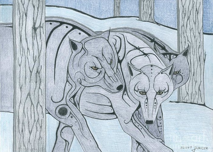 Wolf Greeting Card featuring the drawing 3 Wolves by Elliot Janvier