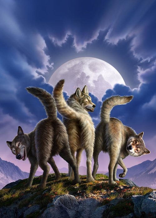 Wolf Greeting Card featuring the digital art 3 Wolves Mooning by Jerry LoFaro