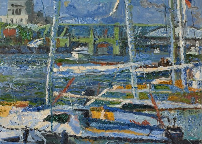 Landscape Greeting Card featuring the painting Yachts by Robert Nizamov
