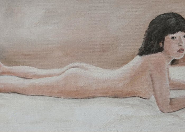 Nude Greeting Card featuring the painting Young Girl by Masami Iida