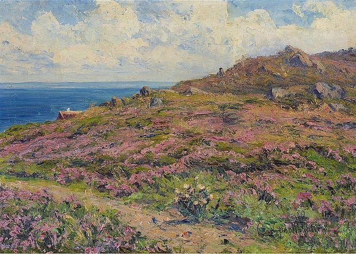 Charlotte WahlstrÖm 1849-1924 Coastal Landscape By Arild Greeting Card featuring the digital art Landscape by Mark Carlson