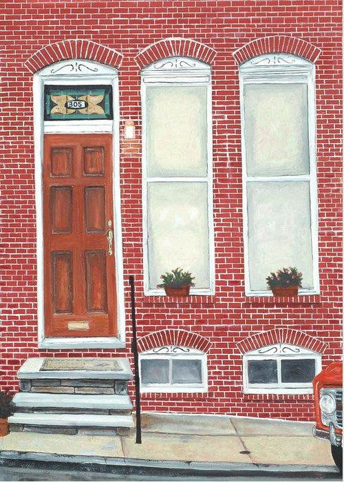 Hamburg Street Greeting Card featuring the painting 305 Hamburg by John Schuller