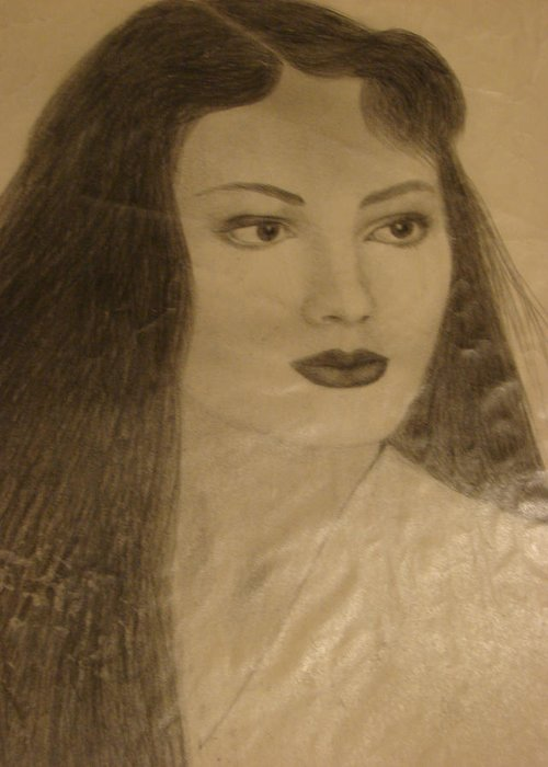 Portrait Art Greeting Card featuring the drawing 30s by Reza Naqvi
