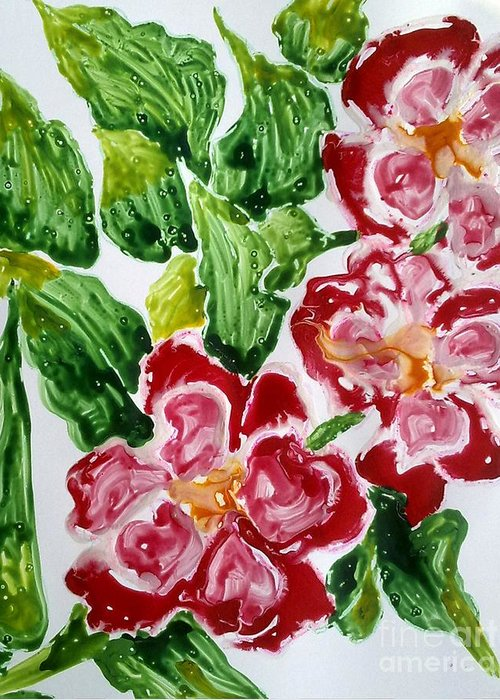 Abstractflowers Greeting Card featuring the painting Divine Flowers by Baljit Chadha