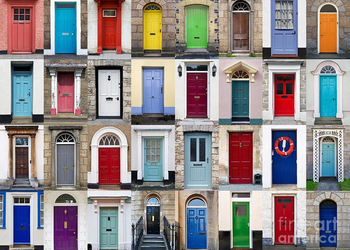 Door Greeting Card featuring the photograph 32 Front Doors Horizontal Collage by Richard Thomas