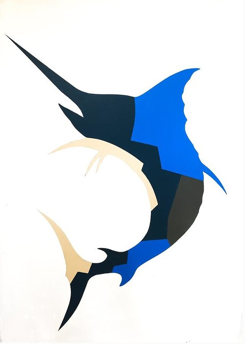Blue Marlin Greeting Card featuring the painting Blue Marlin by Barry Knauff