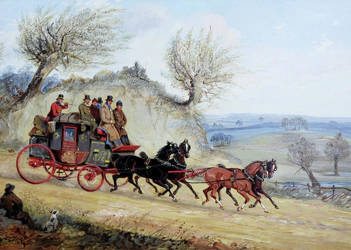 Coaching Oil Of A Royal Mail Coach Crossing Landscape Passing Seated Man With His Dog By Samuel Henry Alken (english Greeting Card featuring the digital art Landscape by Mark Carlson