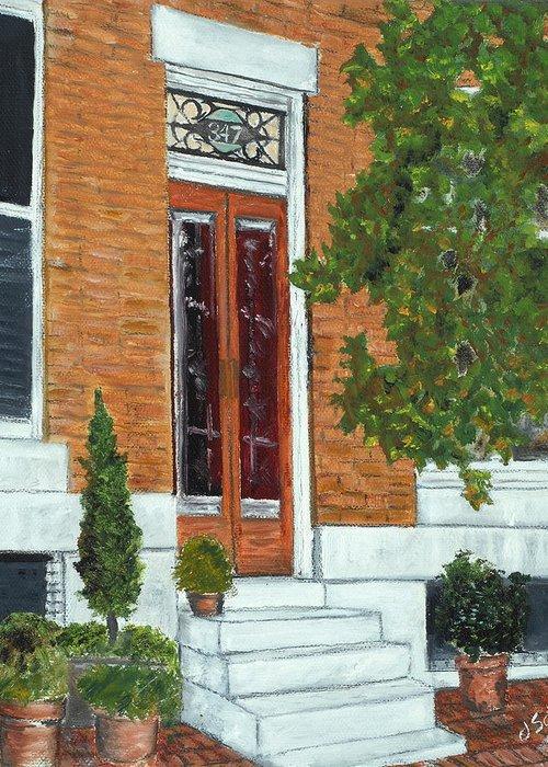 Warren Street Greeting Card featuring the painting 347 Warren by John Schuller