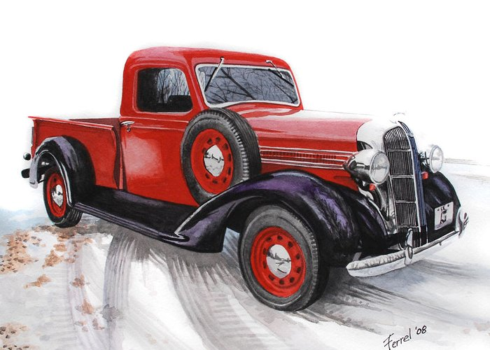 Dodge Greeting Card featuring the painting 36 Dodge by Ferrel Cordle