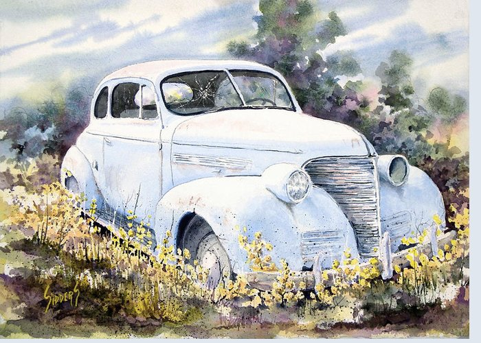 Automobile Greeting Card featuring the painting 39 Chevy by Sam Sidders