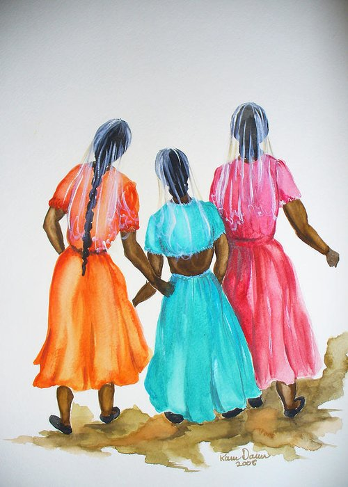 Three Ladies East Indian Greeting Card featuring the painting 3bff by Karin Dawn Kelshall- Best