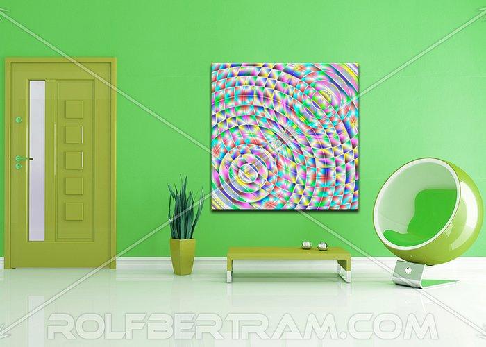 ultra Modern Greeting Card featuring the digital art An Example Of Modern Art By Rolf Bertram In An Interior Design Setting by Rolf Bertram
