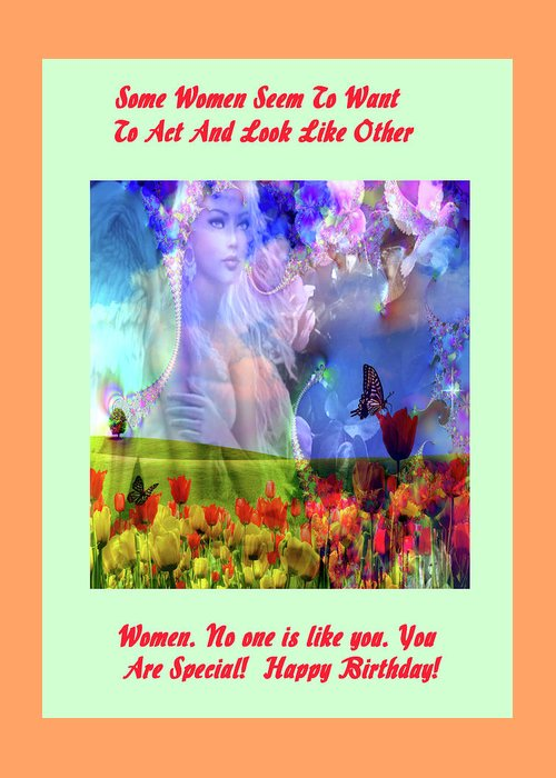 Adult Greeting Card featuring the digital art Angel In A Field by Mitchell Watrous