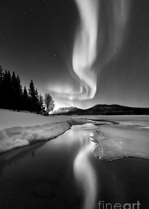 Aurora Borealis Greeting Card featuring the photograph Aurora Borealis Over Sandvannet Lake by Arild Heitmann