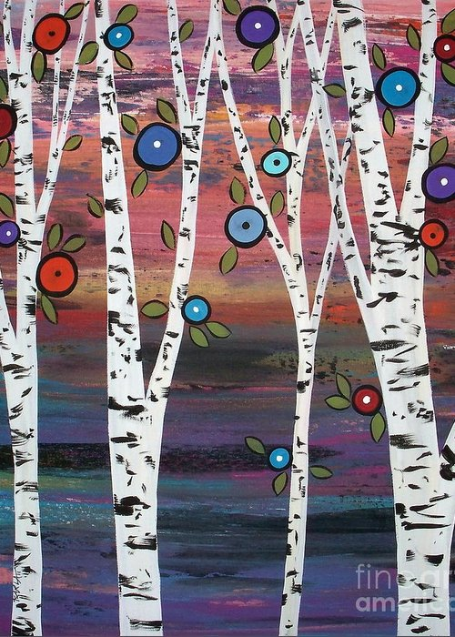Trees Greeting Card featuring the painting 4 Birches by Karla Gerard