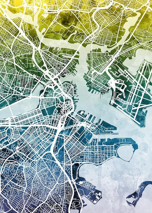 Street Map Greeting Card featuring the digital art Boston Massachusetts Street Map by Michael Tompsett