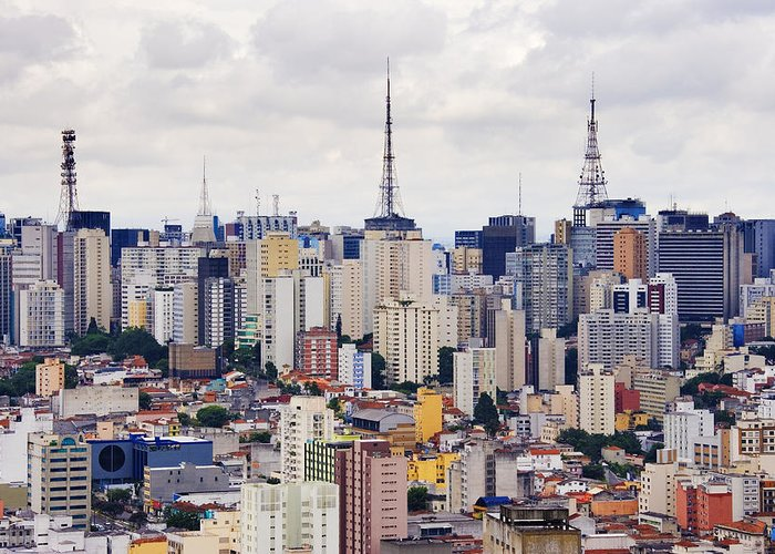 Apartment Greeting Card featuring the photograph Buildings Of Downtown Sao Paulo by Jeremy Woodhouse