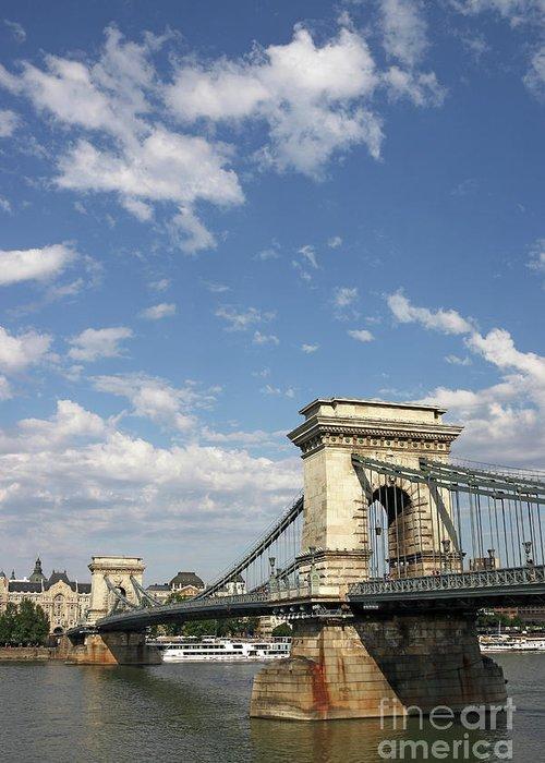 Bridge Greeting Card featuring the photograph Chain Bridge On Danube River Budapest by Goce Risteski