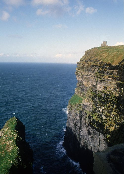 Watch Tower Greeting Card featuring the photograph Cliffs Of Moher In Ireland by Carl Purcell