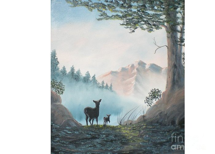 Mother And Fawn Deer In The Misty Mountain Greeting Card featuring the painting Deer In The Mist by Hal Newhouser