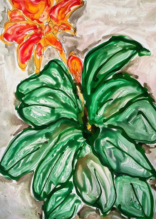 Abstract Greeting Card featuring the painting Divine Flower by Baljit Chadha
