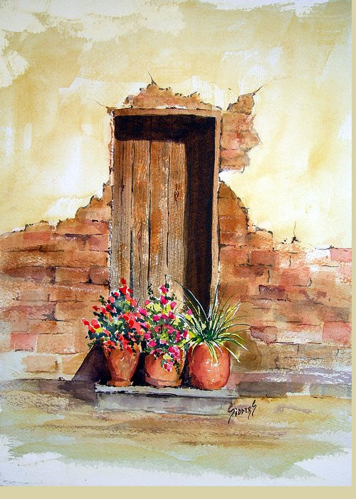 Door Greeting Card featuring the painting Door With Pots by Sam Sidders