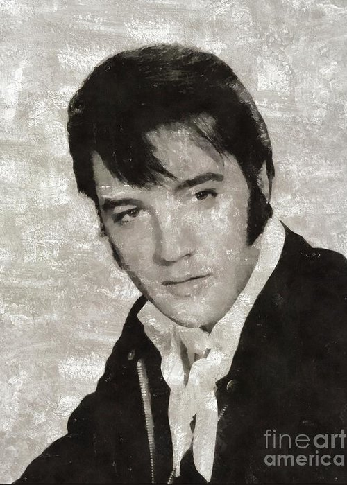 Music Greeting Card featuring the painting Elvis Presley, Legend by Mary Bassett