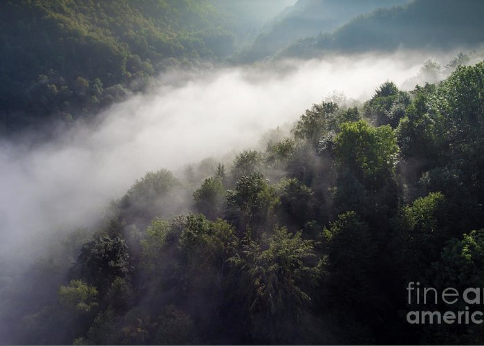 Above Greeting Card featuring the photograph Fantastic Dreamy Sunrise On Foggy Mountains by Mariusz Prusaczyk