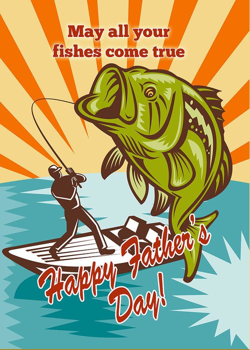 Fathers Day Card Featuring Fly Fisherman On Boat Catching Largemouth Bass Retro Style Illustration Greeting Card featuring the digital art Fly Fisherman On Boat Catching Largemouth Bass by Aloysius Patrimonio