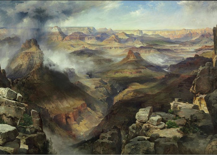 Moran Greeting Card featuring the painting Grand Canyon Of The Colorado River by Thomas Moran