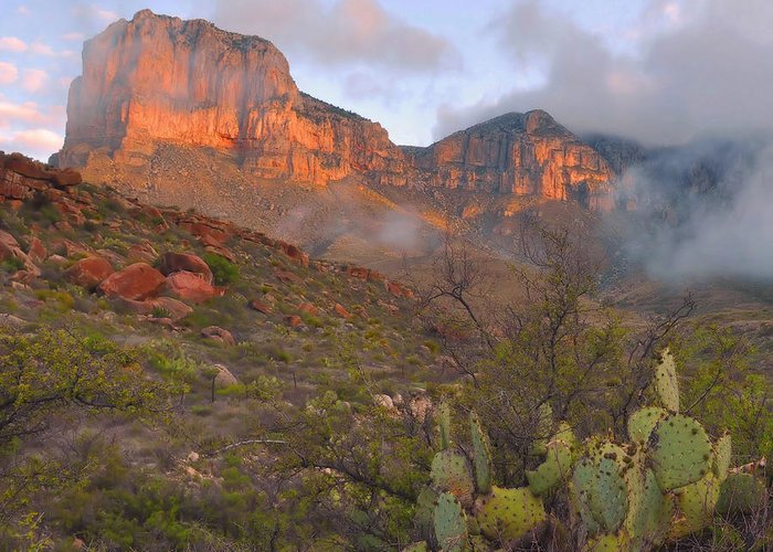 Guadalupe Mountains Greeting Card featuring the photograph Guadalupe Mountains Sunrise by Stephen Vecchiotti