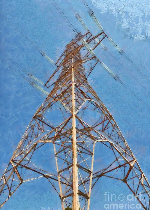 Pylon Greeting Card featuring the painting High Voltage Pylon by George Atsametakis
