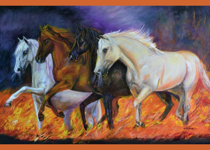 Horse Greeting Card featuring the painting 4 Horses Of The Apocalypse by Olga Kaczmar