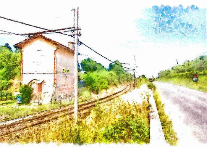 Fabrica Di Roma Greeting Card featuring the painting House On The Railway by Giuseppe Cocco