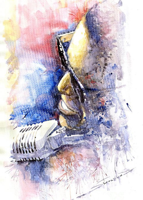 Watercolor Greeting Card featuring the painting Jazz Ray Charles by Yuriy Shevchuk
