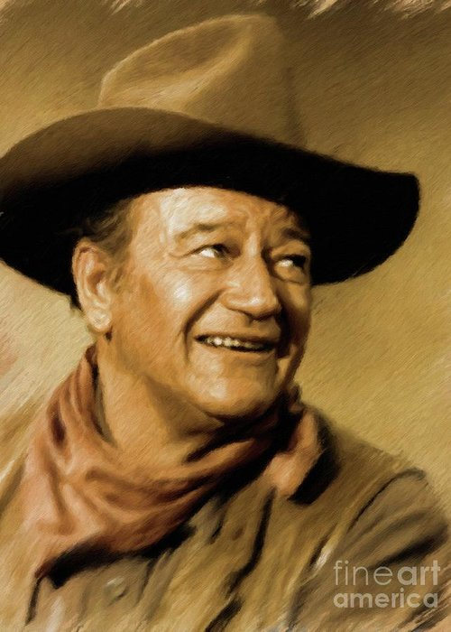 John Greeting Card featuring the painting John Wayne, Actor by Mary Bassett