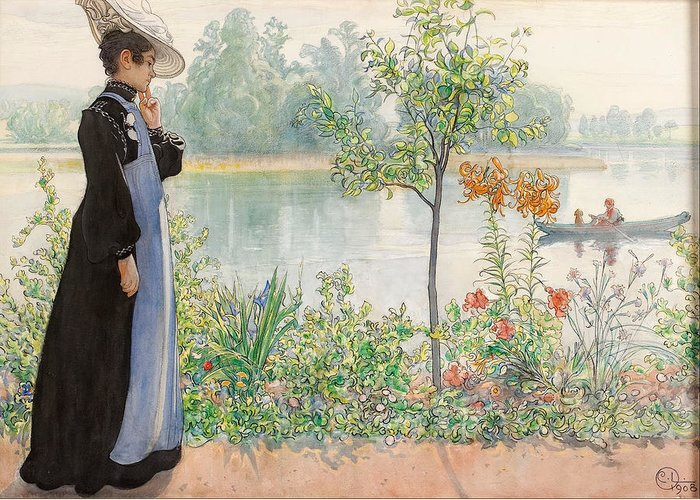 Karin By The Shore By Carl Larsson Greeting Card featuring the painting Karin By The Shore by Carl Larsson