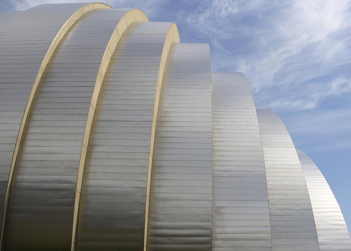 Abstract Building Greeting Card featuring the photograph Kauffman Center For Performing Arts by Mike McGlothlen