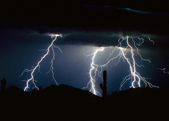 The Lightning Man Photographs Greeting Cards