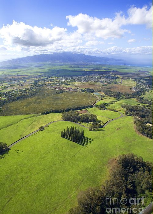 Aerial Greeting Card featuring the photograph Maui Aerial by Ron Dahlquist - Printscapes