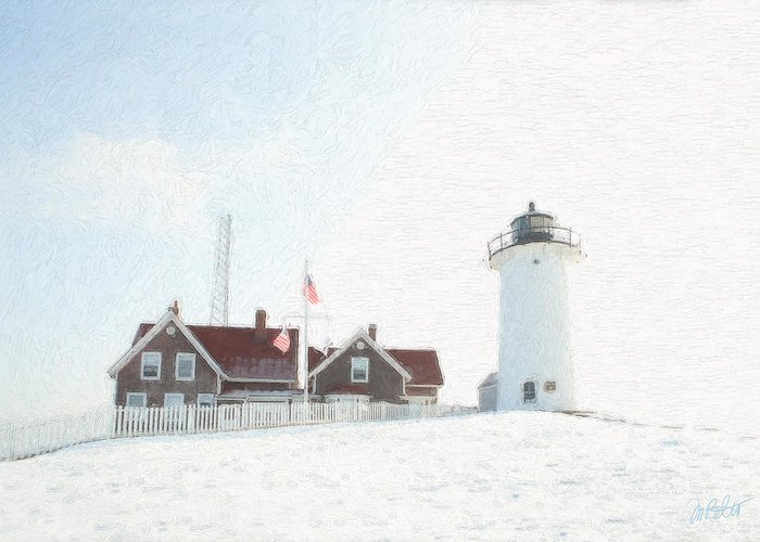 Light House Greeting Card featuring the photograph Nobska Light House by Michael Petrizzo
