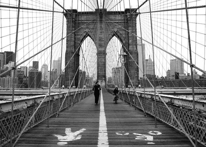 Nyc Greeting Card featuring the photograph Nyc Brooklyn Bridge by Nina Papiorek