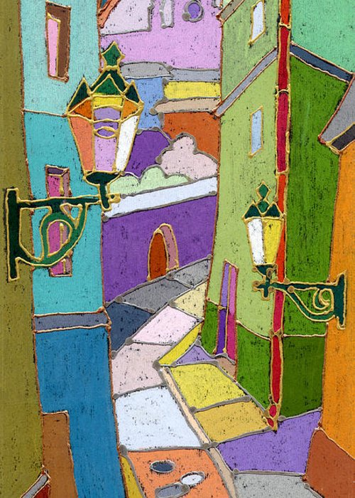 Pastel Greeting Card featuring the painting Prague Old Street by Yuriy Shevchuk