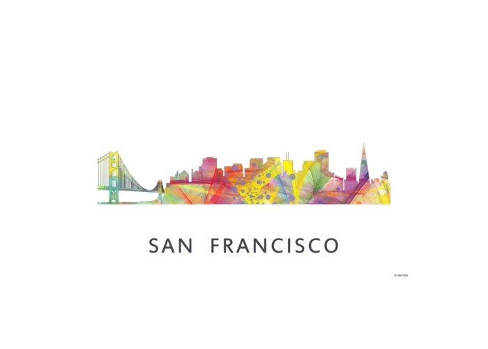 San Francisco California Skyline Greeting Card featuring the digital art San Francisco California Skyline by Marlene Watson