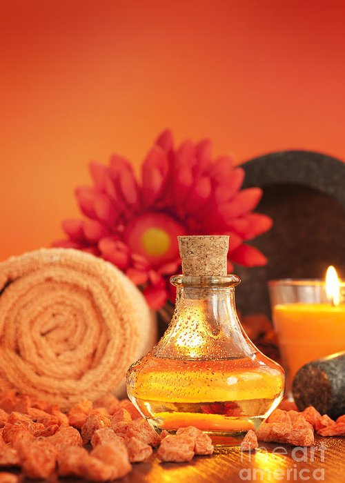 Aroma Greeting Card featuring the photograph Spa Setting by Mythja Photography