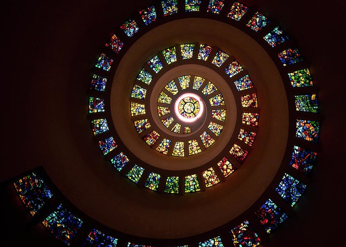 Stained Glass Greeting Card featuring the photograph Thanksgiving Chapel Stained Glass by Janet Chung